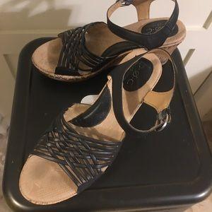 BOC Tootsie Cork Wedge Woven Ankle Strap Sandals